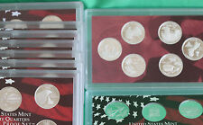 1999 - 2009 Silver Proof Quarter Lot 56 Coins NO BOXES US Mint Acrylic Holder 11