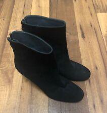 "Stuart Weitzman Boots Slate Suede Ankle Booties Size 11B  Black 3.75""  heels"