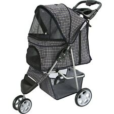 Pet Stroller Cat Dog 3 Wheel Walk Jogger Travel Folding Carrier Plaid Blue