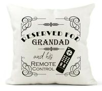Personalised Cushion, Reserved For Dad, Grandad Remote Control Fun Birthday Gift