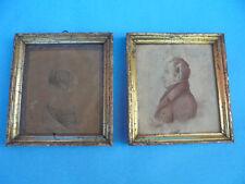 29193 2x Rahmen Biedermeier Berliner Leiste 17x16cm Zeichnungen Portrait