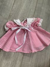 1980s Original Cabbage Patch Kids Vintage Coleco Dress Pink Gingham With Tie CPK