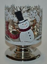 BATH & BODY WORKS RED GLITTER SNOWMAN PEDESTAL LARGE 3 WICK CANDLE HOLDER SLEEVE