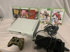 Xbox 360 White Console Bundle Tested With 5 Games & Controller W/ Hard Drive