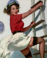 Gil ELVGREN Pinup SKIRTS AHOY Original Painting UPSKIRT Pin-Up Stockings SAILING