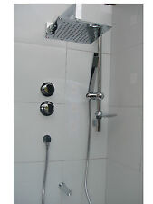 3 WAY THERMOSTATIC SHOWER, SQUARE OVERHEAD & HANDHELD, BATH SPOUT CHROME SET 088