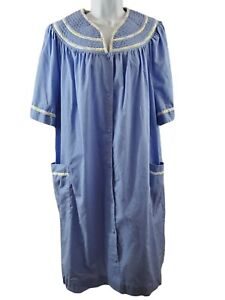 Secret Treasure Womens 2X Light Blue White Trim Nightgown Sleepwear