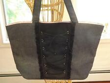 Victoria Secret Denim and Satin Corset style Lace-up Tote Bag Very Feminine