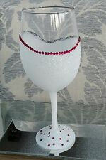 ❤ 1 very large glitter wine glasses  with diamanté rim❤