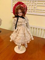 """16"""" German Bisque Doll Closed Mouth Brown Eyed Solid Dome Turned Shoulder Head."""