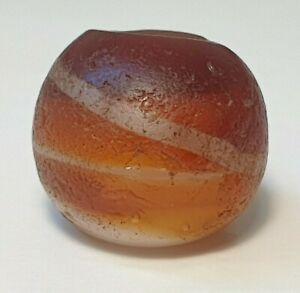 15.5mm ANCIENT RARE FAUX AGATE BANDED GLASS BEAD