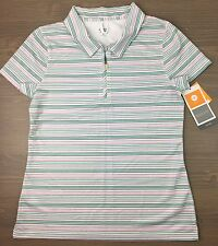 New Champion Golf Shirt Small Womens C9 DuoDry Mesh 1/4 Zip Polo Striped White