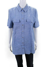 Equipment Femme  Womens Button Down Short Sleeve Top Blue Size Large