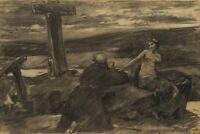 O.FRIEDRICH WOLFF(*1855), Betender Mönch von Mädchen verführt, Kohle