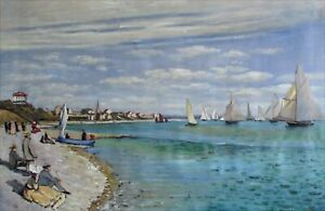 Claude Monet Regattas at Sainte-Adresse Repro, Hand Painted Oil Painting 24x36in