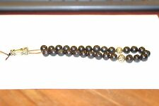 ANTIQUE  AMBER PRAYER BEADS WITH GOLD PLATED DECORATIONS, ONE OF A KIND 35 G
