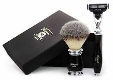 CAPELLI sintetici Pennello da barba in nero manico con GILLETTE MACH 3 RASOIO. per gli uomini