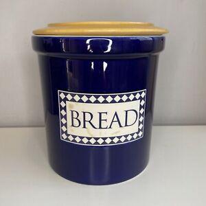 Large BREAD BIN Blue Ceramic Wooden Lid Bread Box Croc Tall Kitchen Storage Jar