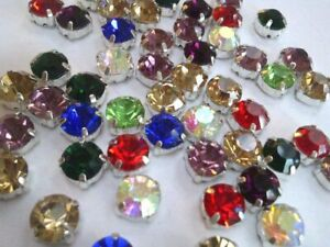 CraftbuddyUS 50pcs 6mm SS28 Sew On Mixed Silver Set Glass CrystalRhinestne Gem