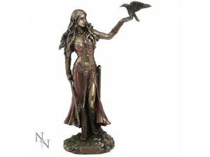 MORRIGAN & CROW 28cm Bronzed Figurine Celtic Goddess Nemesis Now Raven FREE P+P