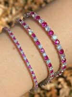 "Tennis Bracelet SOLID 925 Sterling Silver Single Row Diamond & Ruby 2-4mm 6-8"""