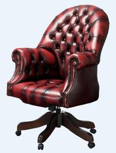 Chesterfield Vintage Directors Swivel Office Chair Antique Oxblood Leather