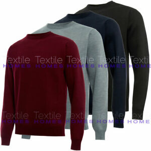 Mens Plain Jumper Crew Neck Pullover Long Sleeve Sweater Pull Over Smart Classic