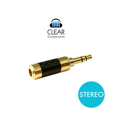 MINI - KLINKENSTECKER 3,5mm STEREO VERGOLDET CARBON GERADE - PLUG - HIGHEND-TOP