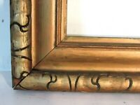 ANTIQUE HAND CARVED GILDED WOOD FRAME FOR PAINTING  16 X 8 INCH