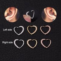 Beauty CZ Heart Nose Ring Piercing Hoop Earring Helix Tragus Daith Cartilage DIY