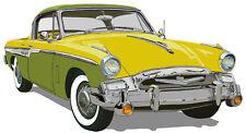 Studebaker 1955  President Speedster canvas art print - lemon lime