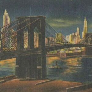 1957 Vintage Postcard BROOKLYN BRIDGE AT NIGHT, New York City NY Linen