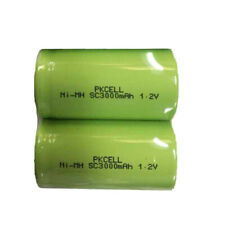 2 × NiMh Sub C Size Rechargeable Batteries 1.2V 3000mAh no tabs Flat Top PKCELL