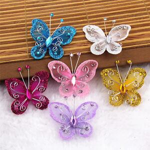Lot 5/20Pcs Mix Color Organza Butterflies Craft Wedding Party Decoration 50MM