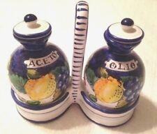 Oil Vinegar Olio & Aceto Holder Set 5 Pieces Italian Pottery Oil Vinegar $125