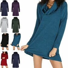 Polyester Cowl Neck Jumper Dresses