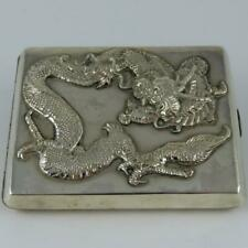ANTIQUE CHINESE EXPORT APPLIED DRAGON SIGNED SILVER CIGARETTE CASE