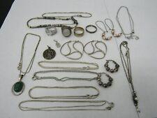 Lot of 18 Sterling Silver Rings Earrings Necklace Pendants