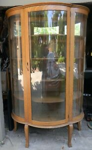 Antique? Quarter Sawn Oak Curved 3-Panel Glass China Hutch Curio Display Cabinet