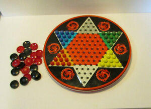 vintage ohio art Chinese checkers game tin dragon glass marbles and checkers