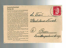 1944 Germany Dachau Concentration Camp Cover to Posen Poland Anton Nowak KZ