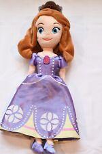 "Princess Sophia Sofia The First Plush 14"" Doll Disney Store Purple Gown"