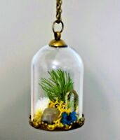 Clear Quartz Pyrite Terrarium Necklace Pendant Glass Bottle Dome Antique Brass