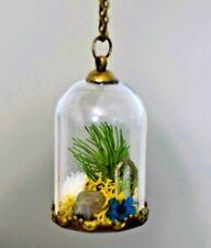 Clear Quartz Pyrite Terrarium Necklace Pendant Glass Bottle Dome Antique Brass