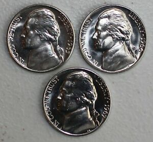 1965 1966 1967 Jefferson Nickle Lot Special Mint Set Coins 5 Cents SMS Three 5c
