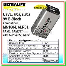 Batteria Pila ULTRALIFE 9v 9 VOLT MN1604 U9VL-J Li-SOCl2 rilevatore fumo 1200mAh
