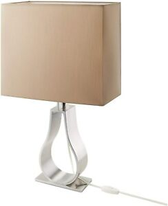 IKEA Klabb Table lamp with LED bulb, light brown, nickel-plated 17""