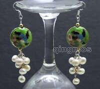 SALE 6-7mm Round White Natural Pearl & 18mm Green Cloisonne Dangle earring-ea514