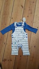 NEW.TU boys 0-3mths cotton jersey stripe,embroidered dungaree & long sleeve body
