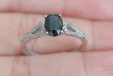 New S7 14K Natural Blue Sapphire Diamond Split Shank Engagement Ring White Gold